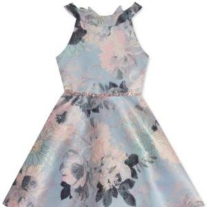 Updated U-neck Floral Skater Dress